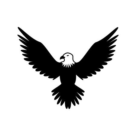 eagle hawk bird wings animal insignia emblem vector illustration