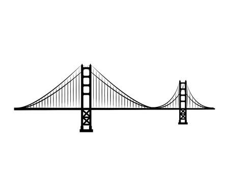 golden gate bridge structure san francisco usa vector illustration Illustration