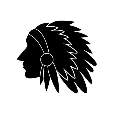 símbolo americano EE.UU. cultura silueta ilustración indio vector