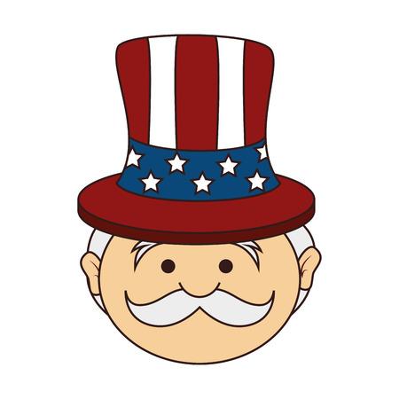 sam: uncle sam icon of america usa man cartoon vector illustration