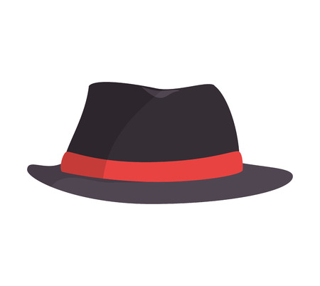 sir: black vintage hat label red clothing accesory style vector illustration