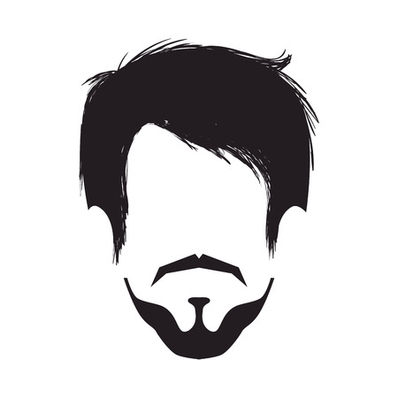 boy man face hipster fashion lifestyle silhouette vector illustration