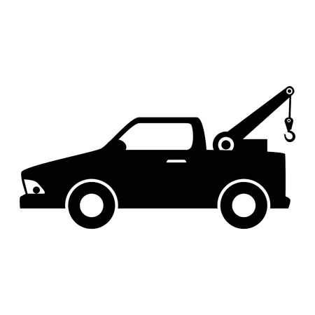 car towing truck tow service vehicle silhouette vector illustration Illustration