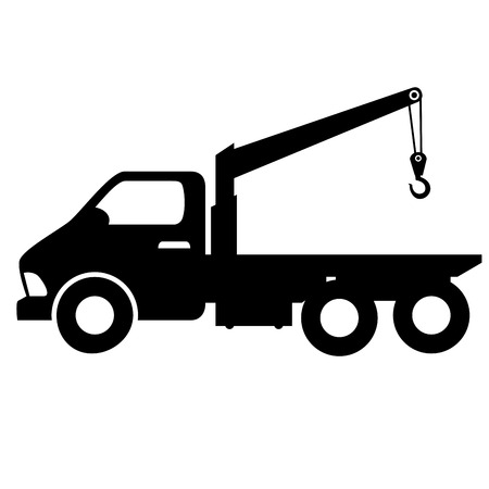 breakdown truck: car towing truck tow service vehicle silhouette vector illustration Illustration