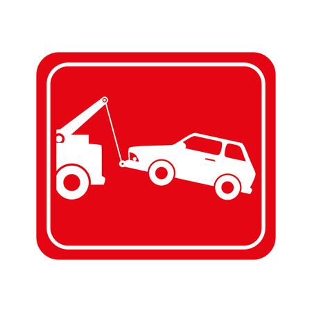 towing car vehicle zone sign symbol vector illustration Illustration