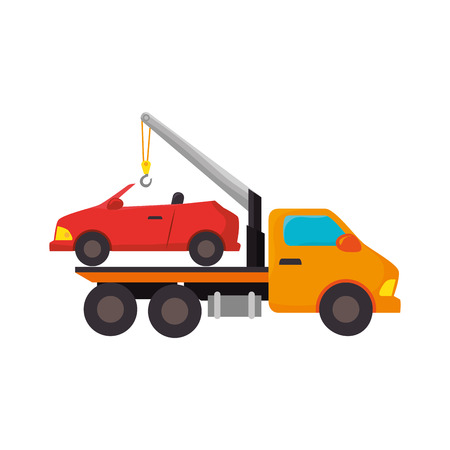 vehicle breakdown: yellow car towing truck tow service vehicle vector illustration