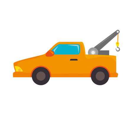 breakdown truck: yellow car towing truck tow service vehicle vector illustration