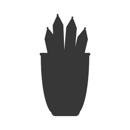 pot holder: work office desk utensils workplace objects vector illustration