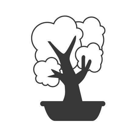asian gardening: bonsai little tree plant decoration office work place vector illustration