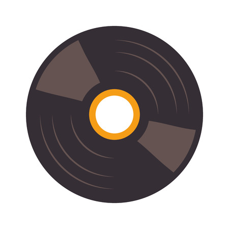 disk jockey: vinyl disc with orange label over white background vector illustration
