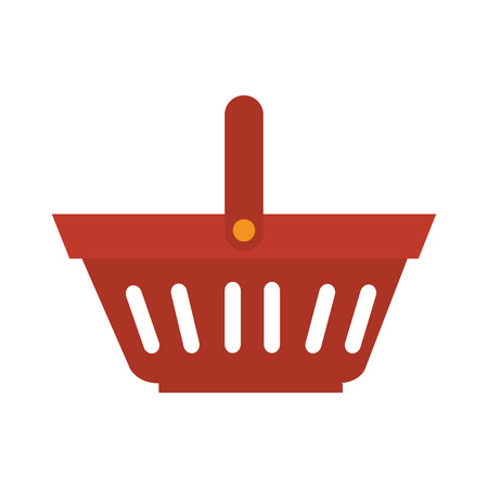 supermarket shopper: shopping basket with white stripes and handle vector illustration