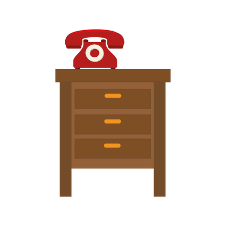 bedside: bedside table with retro telephone wood furniture vector illustration