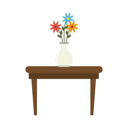 wood furniture: tea table with vase of flowers  wood furniture  interior decoration vector illustration