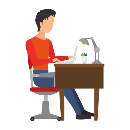 man person working office and business place workplace furniture vector illustration Illustration