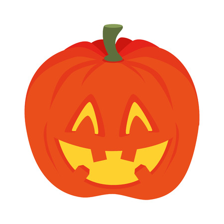 orange pumpkin faces of halloween horror expression vector illustration