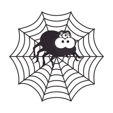 Spyder in cobweb arachnida animal halloween cartoon vector illustration Illustration