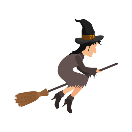 broomstick: Witch flying with broomstick halloween cartoon vector illustration
