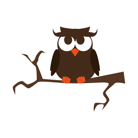 owl on a branch happy halloween season vector illustration Illustration