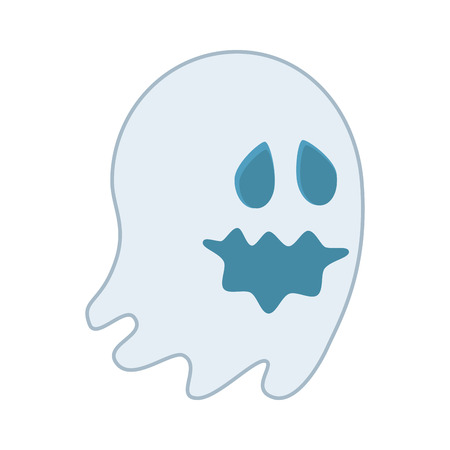 cartoon ghost happy halloween season vector illustration