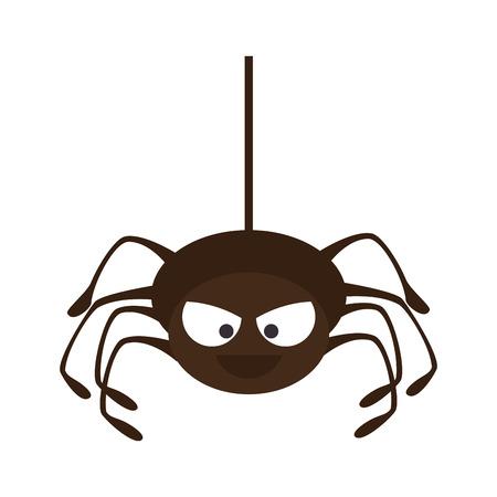 invertebrate: Spyder in cobweb arachnida animal halloween cartoon vector illustration Illustration