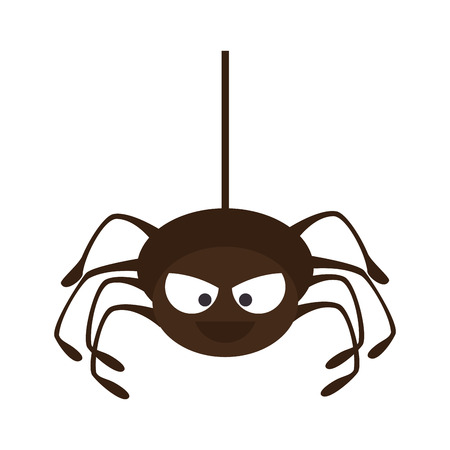 Spyder in cobweb arachnida animal halloween cartoon vector illustration Illustration