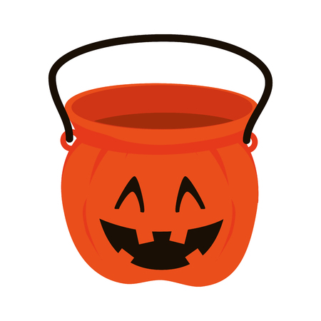 trick: pumpkin bucket of halloween season trick or trick vector illustration