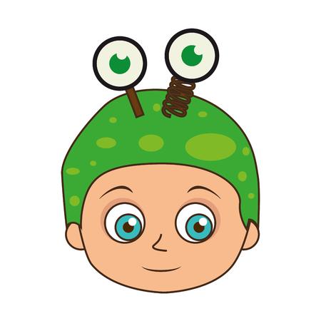 creepy alien: cute kid in a green alien costume halloween season vector illustration
