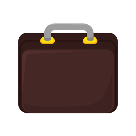 accesory: business brown briefcase elegance accesory vector illustration