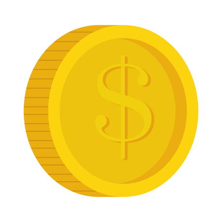 abundance of money: money coins in gold color with money sign vector illustration