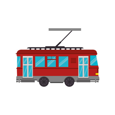 railway transportation: transportation vehicle public tram street railway vector illustration
