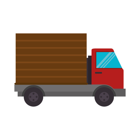 front side: cargo truck transportation vehicle front side view vector illustration