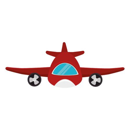 véhicule de transport avion rouge voler front view illustration vectorielle