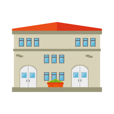 residence: house building modern residential real home  exterior residence vector illustration