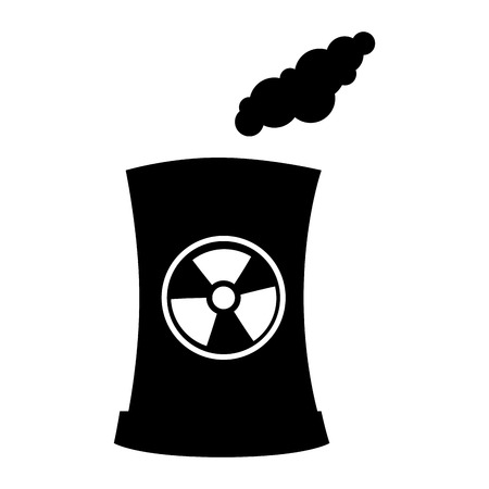 isotope: Factory and industry plant equipment nuclear reactor tower vector illustration