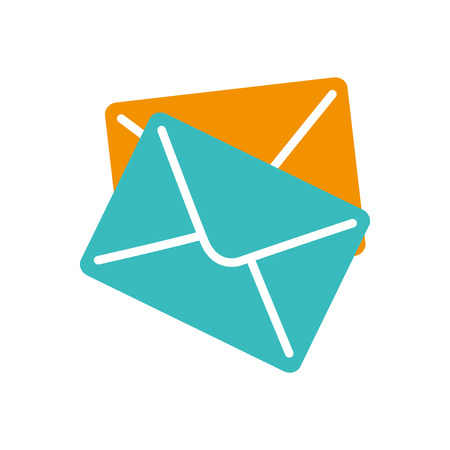 correspondence: azul mails y cartas sobre amarillo ilustración de la correspondencia del vector