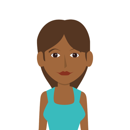 avatar young woman wearing casual clothes  front view vector illustration