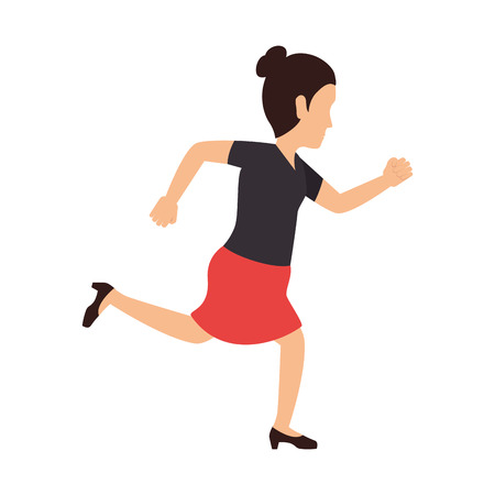business woman running wearing suit cartoon vector illustration