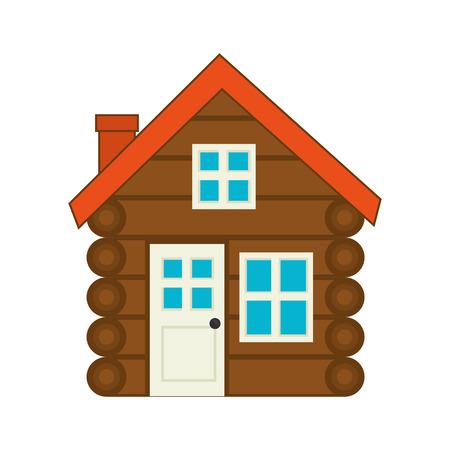 log cabine house wooden with chimney door and windows vector illustration Ilustração