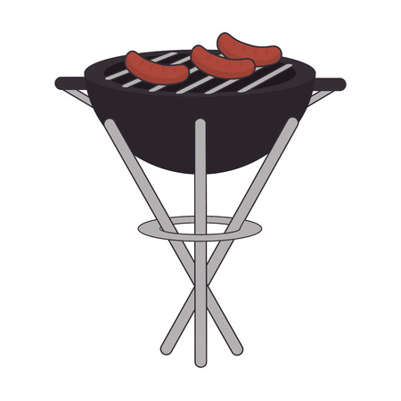 barbecue stove: barbecue grill food bbq steak portable equipment vector illustration