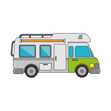 trailer truck vehicle camping  cabine caravan vector illustration