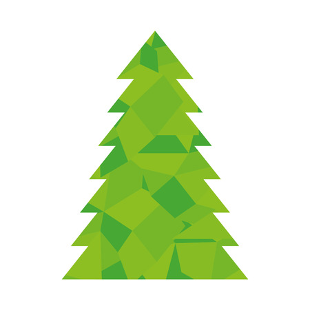 tall: pine tall tree plant traditional christmas decorative symbol vector illustration