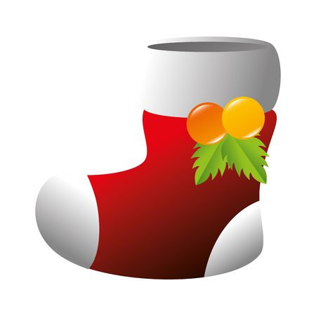 red sock christmas decoration boot tradition leaves vector illustration