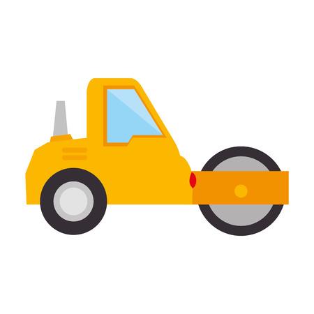 steamroller: steamroller construction truck vehicle industry vector illustration Illustration