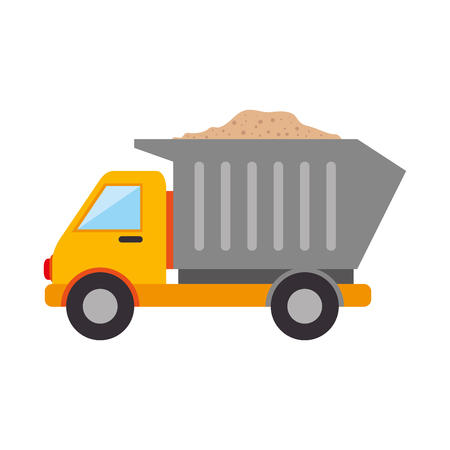 dump truck construction vehicle industry cargo vector illustration