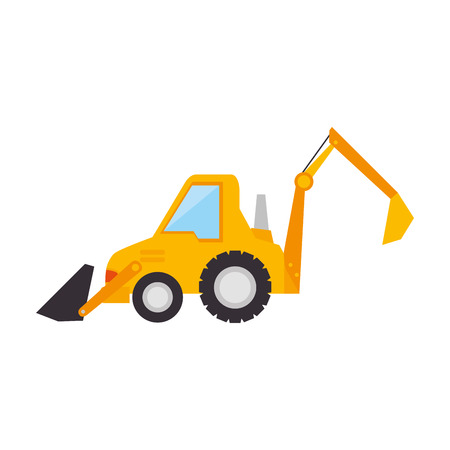 mine site: excavator loader construction machine truck vehicle industry yellow vector illustration