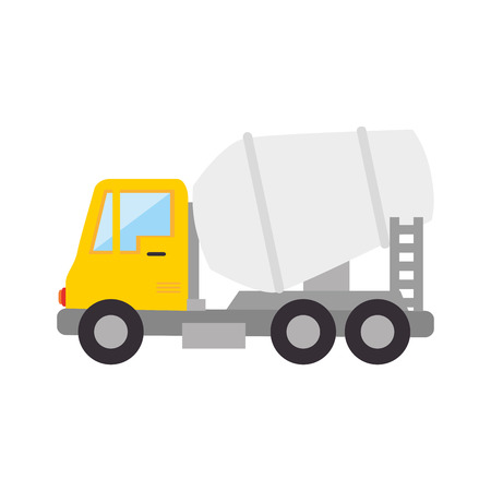 mine site: mixer truck construction concrete vehicle industry vector illustration