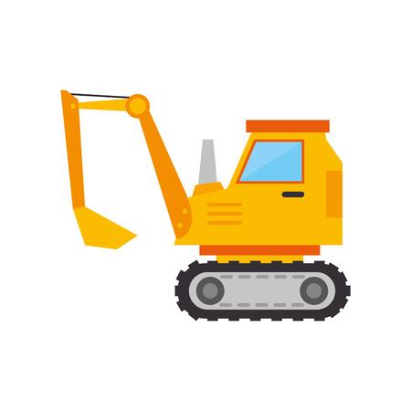 mine site: excavator truck construction yellow vehicle machinary scoop vector illustration