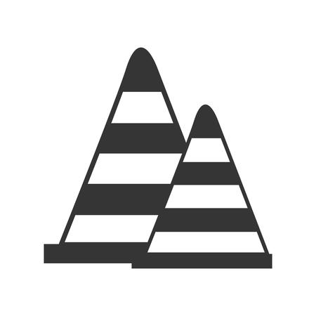 precaution: cone precaution road sign element security warning vector illustration Illustration