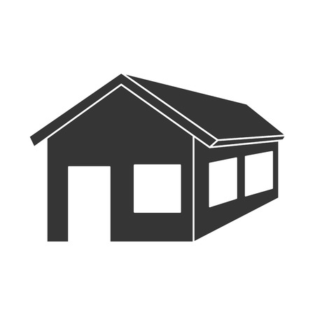 residential home: house building home property residential exterior silhouette vector illustration Illustration