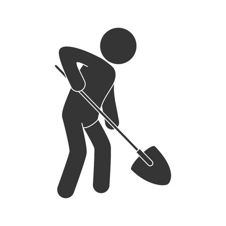worker construction man with shovel tool builder building vector illustration